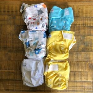 Lot of 6 pocket bamboo cloth diapers.